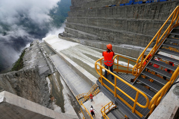Workers are seen in a construction area at Hidroituango hydroelectric plant in Ituango