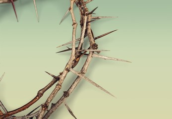 Crown of thorns on background ,represents Jesus's Crucifixion on the Cross, dying and then rising on Easter Sunday.