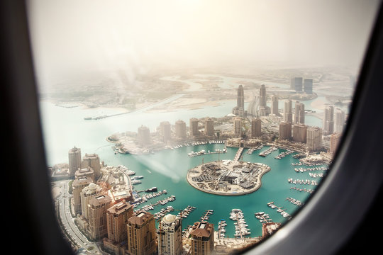 Doha, the capital of the state of Qatar. View from the airplane window.