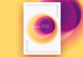 Abstract Poster Layout with Pink and Yellow Gradient Blurred Circle