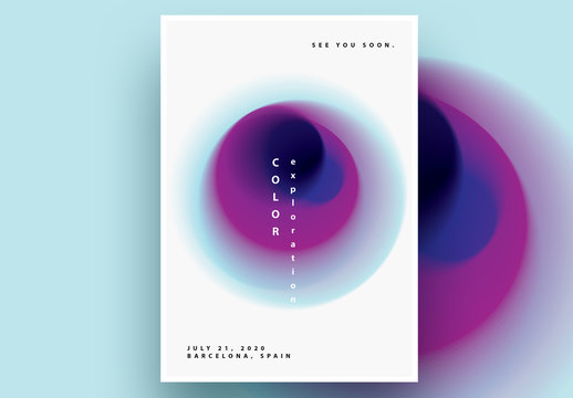 Abstract Poster Layout with Blue and Purple Gradient Blurred Circle