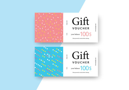 Abstract Gift Voucher with Colorful Patterns
