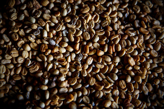 Luwak coffee beans. Top view. The legendary coffee from Bali