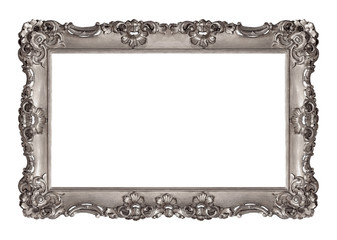 Panoramic silver frame for paintings, mirrors or photo isolated on white background