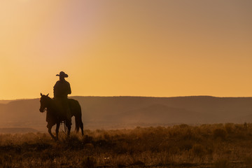 Lone Desert Cowboy Riding At Sunrise Wall mural