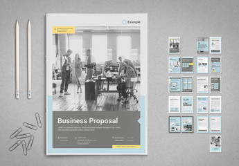 Business Proposal Layout in Pale Blue with Gray with Yellow Accents