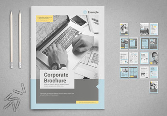 Business Brochure Layout in Pale Blue and Gray with Yellow Accents
