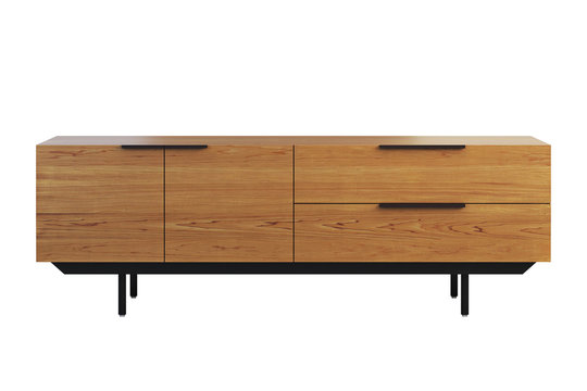Wooden sideboard with retractable shelves. 3d render