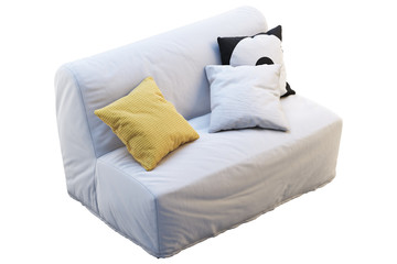 Scandinavian folding sofa bed with colored pillows. 3d render