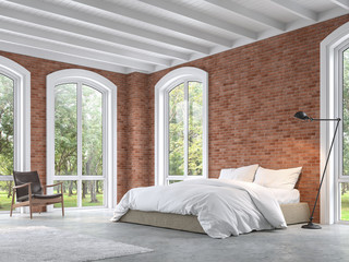 Loft style bedroom 3d render,There are concrete floor,red brick wall ,Furnished with brown fabric bed and white blanket,There are arch shape window looking out to the natural view.