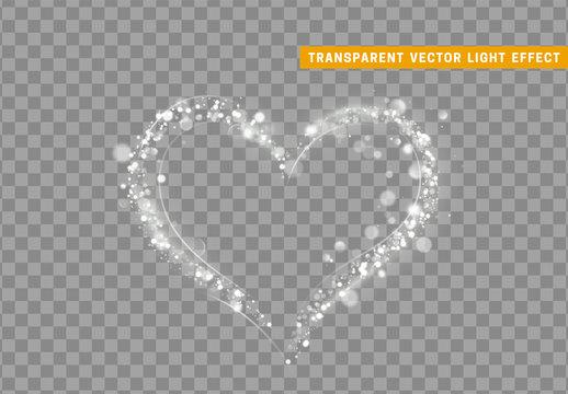 Heart shape White colors of glitter light effect.
