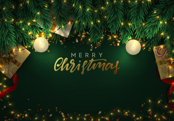 Christmas night background. Gold garlands, green branches of pine, boxes with gifts box, flame lit decorative candles Wall mural