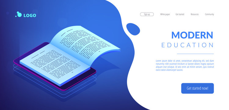 Open ebook on digital tablet screen for modern education and e-learning. Digital reading, e-classroom textbook, modern education concept. Isometric 3D website app landing web page template