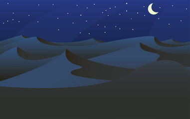 Printed roller blinds Gray traffic Sahara desert at night with a crescent moon in a landscape background vector illustration -vector