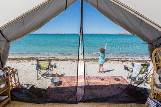 5 year old boy in tent, Isla Espiritu, Sea of Cortez