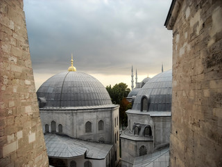 Blue mosque, view from Hagia Sophia, Turkey, Istanbul