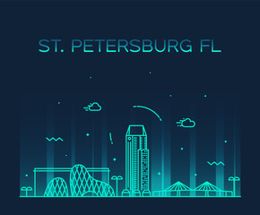 Wall Mural - St Petersburg skyline Pinellas Florida USA vector