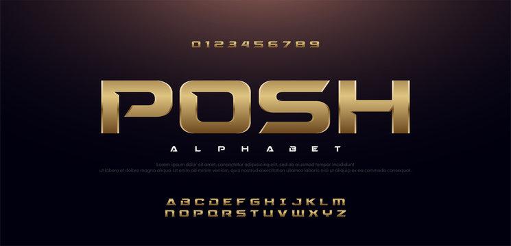 Elegant Sport Gold Metal Chrome Alphabet Font. Typography modern style golden fonts for technology, digital, movie logo design. vector illustration