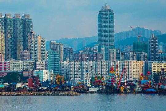 Hong Kong city skyline, China at sunrise