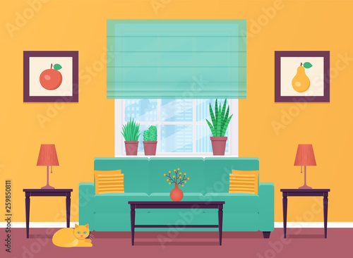 Living Room Vector Room Interior With Furniture Home