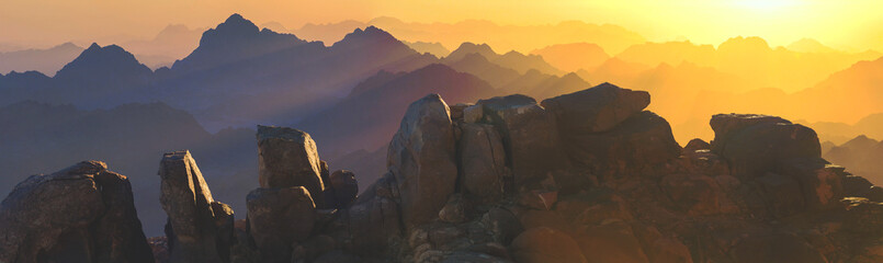 Amazing Sunrise at Sinai Mountain, Beautiful dawn in Egypt, Beautiful view from the mountain	 Wall mural