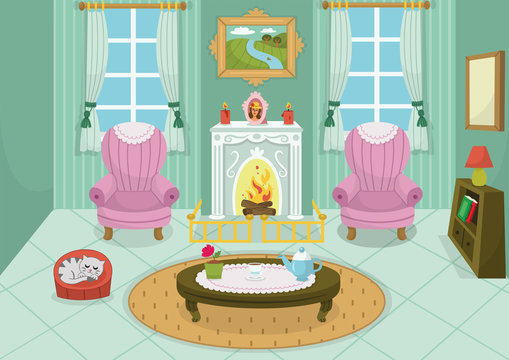 Vector illustration of a cartoon interior with fireplace, a pet, furniture and windows. Domestic room design with burning fire in furnace, hot drinks on a table. Vector illustration.