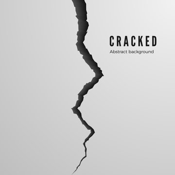 Surface cracked ground. Sketch crack texture. Split terrain after earthquake. Isolated vector illustration