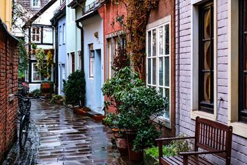 Colorful houses in historic Schnoorviertel in Bremen, Germany. March 2019