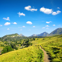 Hiking trail in beautiful mountain landscape, Neouvielle national nature reserve, French Pyrenees.