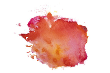 Watercolor stain, with paint and paper texture. On a white background isolated for design, mockup, high resolution postcards and banners. Hand-drawn on paper DIY