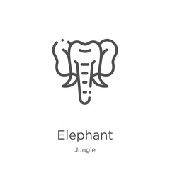 elephant icon vector from jungle collection. Thin line elephant outline icon vector illustration. Outline, thin line elephant icon for website design and mobile, app development