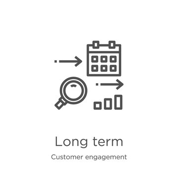 long term icon vector from customer engagement collection. Thin line long term outline icon vector illustration. Outline, thin line long term icon for website design and mobile, app development