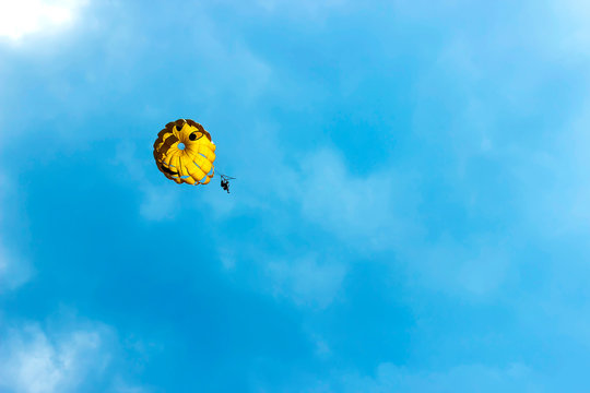 Two people are gliding using a parachute on the background of the blue sky. Summer background.