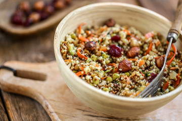 salade quinoa noisette et cranberries