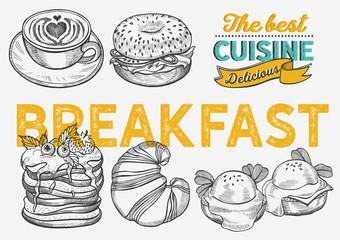 Breakfast and brunch food illustration - bagel, coffee, pancake, egg