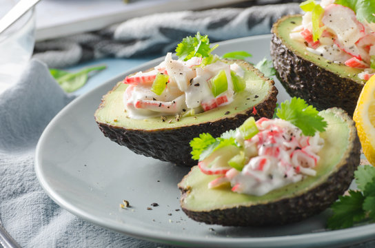 Delish filled avocado with crab meat