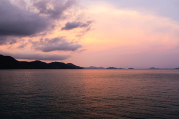 Violet Vivid sunset at Ko CHang island in Thailand, April, 2018 - Paradise look in reality - Best travel destination
