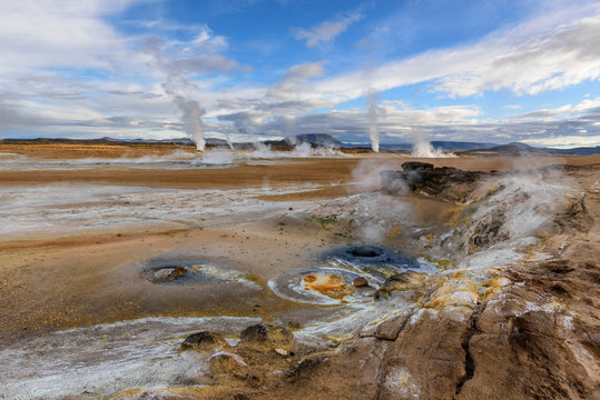 Amazing landscape in the north of Iceland near Lake Myvatn. Panoramic view in myvatn geothermal area. Beautiful landscape in Iceland in an area of active volcanism.