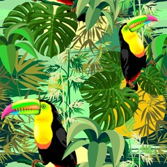 Acrylic Prints Draw Toucan in Green Amazonia Rainforest Seamless Pattern Vector Design