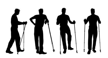 Vector silhouette of man who sport with nordic walking on white background. Wall mural