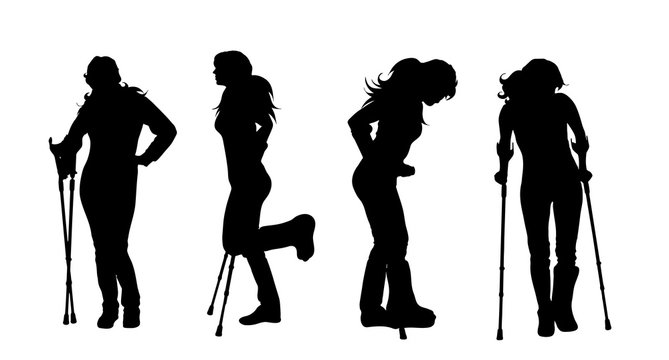 Vector silhouette of woman who walking with crutches on white background. Symbol of injury.