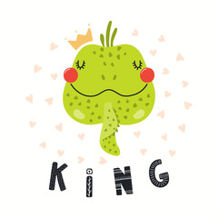 Spoed Fotobehang Illustraties Hand drawn vector illustration of a cute funny iguana in a crown, with lettering quote King. Isolated objects on white background. Scandinavian style flat design. Concept for children print.