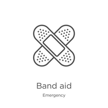 band aid icon vector from emergency collection. Thin line band aid outline icon vector illustration. Outline, thin line band aid icon for website design and mobile, app development
