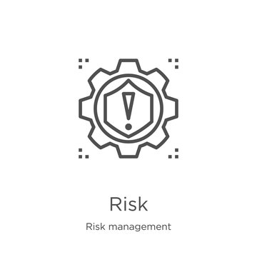 risk icon vector from risk management collection. Thin line risk outline icon vector illustration. Outline, thin line risk icon for website design and mobile, app development