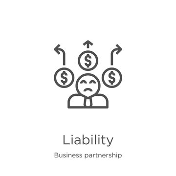 liability icon vector from business partnership collection. Thin line liability outline icon vector illustration. Outline, thin line liability icon for website design and mobile, app development