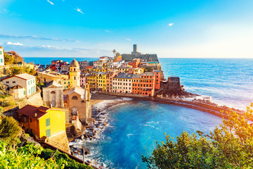 Vernazza, national park Cinque Terre, liguria Italy Europe. Colorful villages
