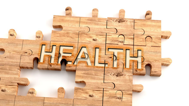 Complex and confusing health: learn complicated, hard and difficult concept of health,pictured as pieces of a wooden jigsaw puzzle creating a whole, completed word, 3d illustration