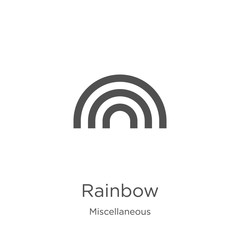 rainbow icon vector from miscellaneous collection. Thin line rainbow outline icon vector illustration. Outline, thin line rainbow icon for website design and mobile, app development
