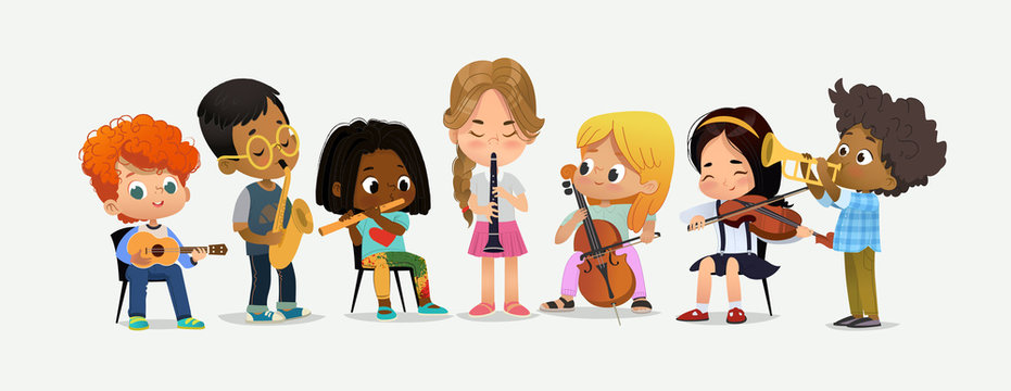 School Orchestra Kids Play Various Music Instrument