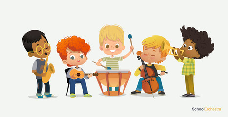 Kids Boy Orchestra Play Different Music Instrument